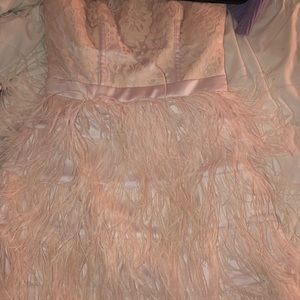Pink feathered BEBE dress
